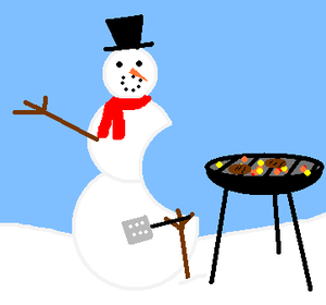 Barbecued snowman