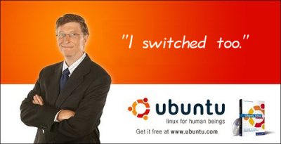 The official logo of the Ubuntu Linux Distribution, depicting three men grabbing each other's penis from behind.