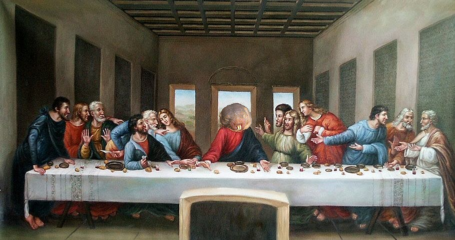 This is Da Vinci's original painting of the Last Supper. He was a devout and sensible NMRian who often followed the Power of Nakedness. However, the ignorant Christians forced him to change the painting to the famous visage we know today.