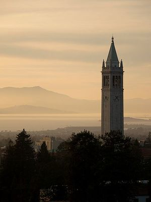 Sather tower stares down the San Francisco Bay