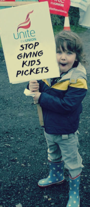 Kid with protest picket