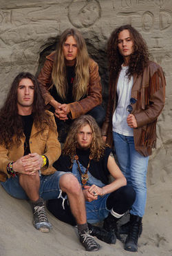 Members of Alice in Chains, including Layne Staley (bottom left).